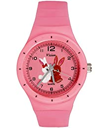 Vizion Analog Pink Medium Dial (BINNIE&BOOSER-The Rabbit Couple) Cartoon Character Watch for Kids-8825-3-3
