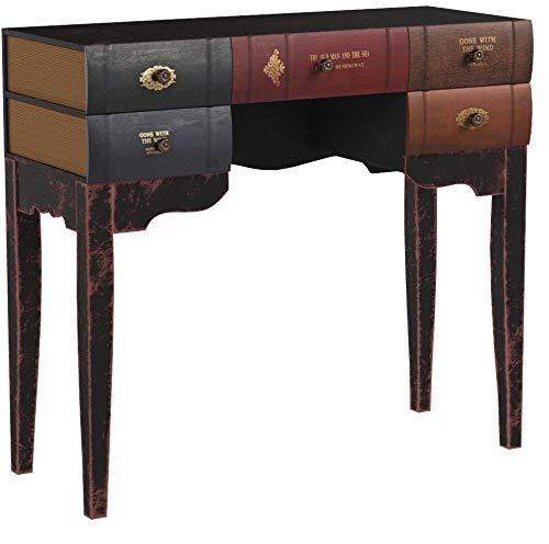ts-ideen Escritorio mesa de trabajo en forma de libro para salón, de diseño vintage, estantería de madera pícea