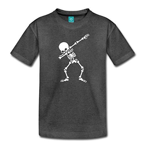 Spreadshirt Dab Skelett Dabbing Gerippe Halloween Teenager Premium T-Shirt, 146/152 (10 Jahre), Anthrazit