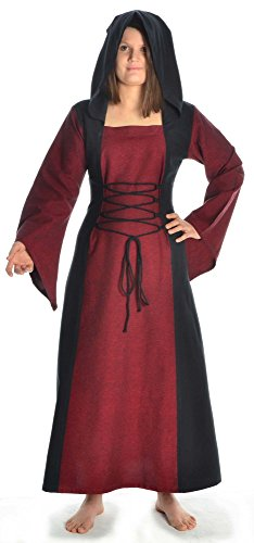 HEMAD Damen Mittelalter Kleid zum Schnüren mit Gugel weiß rot grün blau braun schwarz S - XL (S, dunkelrot) (Weißes Kostüm Kleid Mittelalter)