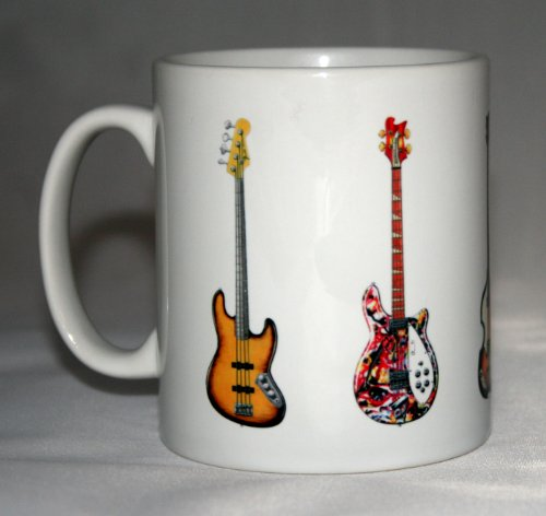 Bassgitarre Mug. 5 Berühmte Bass-Gitarren auf eine Tasse.