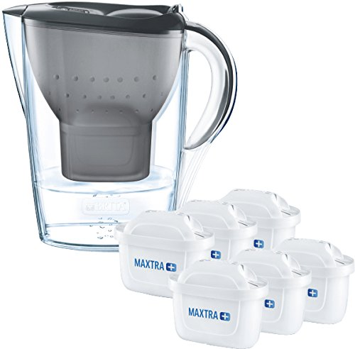 41WQlXBvX7L - Brita Wasserfilter Marella graphitgrau inkl. 6 Maxtra+ Filterkartuschen, Filter Halbjahrespaket zur Reduzierung von Kalk, Chlor und geschmacksstörenden Stoffen im Wasser