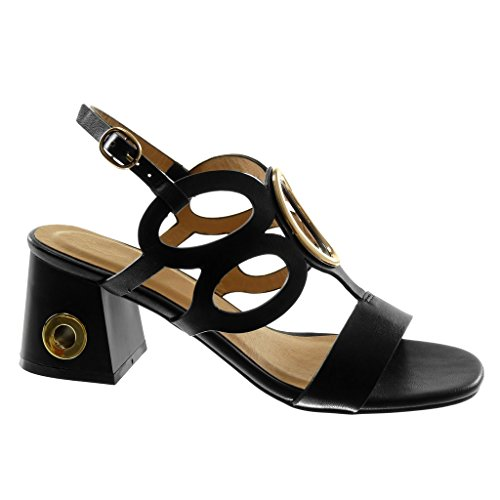 Angkorly Scarpe Moda Sandali Decollete con Tacco con Cinturino Alla Caviglia Sexy Donna Perforato Gioielli D'Oro Tacco a Blocco Alto 7 cm Nero