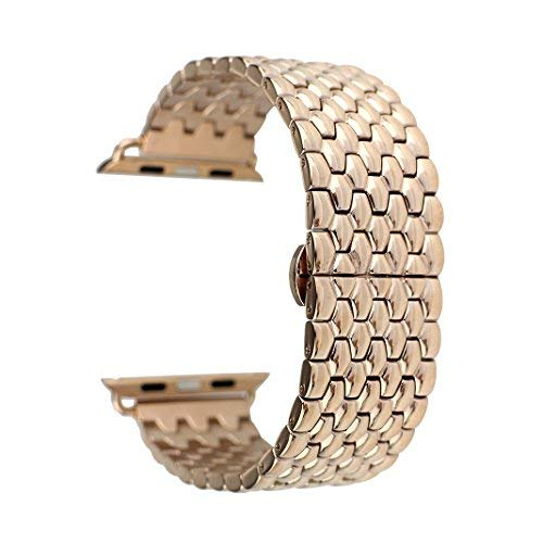 Price comparison product image For iWatch Strap 38mm Rose Gold AISPORTS Apple Watch Straps 38mm Stainless Steel Smart Watch Bands Adjustable Replacement Strap Bracelet Buckle Butterfly Clasp for 38mm iWatch Series 3 / 2 / 1 Sport Edition