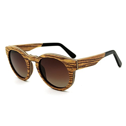 Goodvk Einfache Brille Retro-Stil runde Form handgemachte Holz umrandeten Sonnenbrille farbige Linse UV400 Schutz für Männer Frauen (Farbe : Braun)