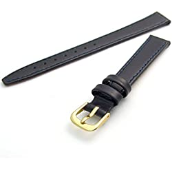 Condor Calf Leather Ladies Watch Strap Dark Blue 12mm Gilt (Gold Colour) Buckle and Free Spring Bars 124R.05