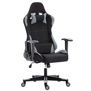 IntimaTe WM Heart Gaming Stuhl, Stoff Racing Gamer Stuhl,Ergonomischer Bürostuhl Computerstuhl Drehstuhl mit Hoher Rückenlehne,Grau