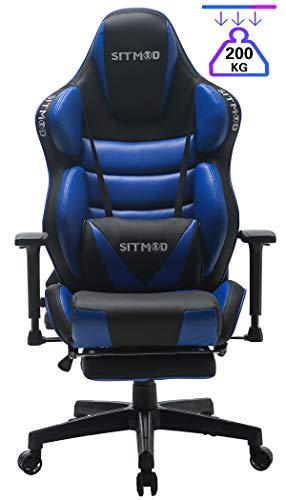 SITMOD Racer Gaming Stuhl Gamer Stühle 200kg PU Leder mit Massagekissen, Leuchtende Stickerei Design, Hoher Rücken Gamer Sessel Ergonomischer PC Computer E-Sport Stuhl Racing mit Fussstütze-Blau