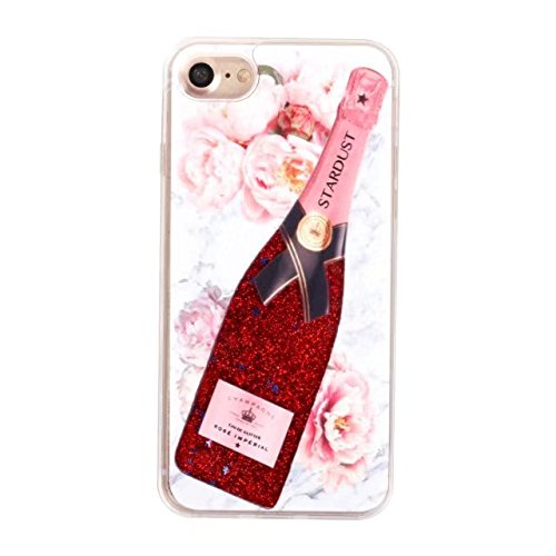 Cover iPhone 7 Liquido, LuckyW Serie di bottiglie di profumo TPU Morbido Bordo PC BackCover per Apple iPhone 7 7S(4.7 pollice) Brillantini Flowing Flusso Fluente Liquid Liquido Floating Glitter Luccic Champagne 5