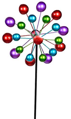 Formano - Windrad für den Garten aus Metall - Windräder Windspiel Windmühle doppelt lila/blau/rot/grün - 124cm Groß