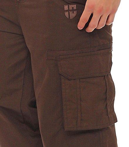 Gennadi Hoppe Herren Cargo Hose Pant Freizeithose Cargohose Baumwoll Hose viele Taschen Arbeitshose Braun