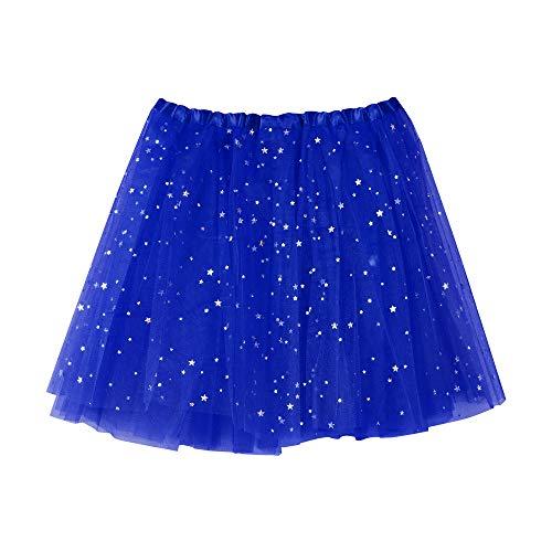 Andouy Damen Sparkly Star Pailletten Tutu Rock Tüll Organza Petticoat Balletttanz Geschichtet Kostüm Dress-up Größe - Girl Blue Link Kostüm
