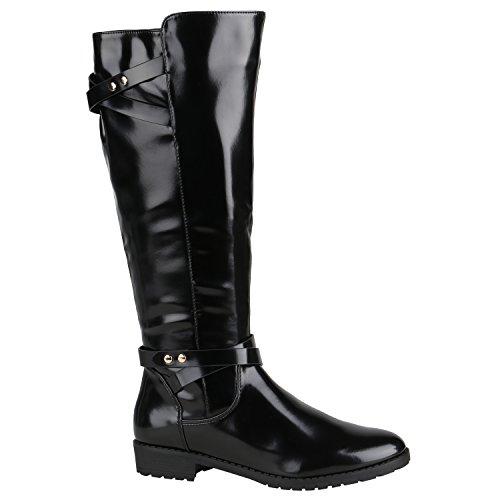 Gefütterte Damen Schuhe Stiefel Klassische Langschaft Boots 152567 Schwarz Camiri 36 Flandell