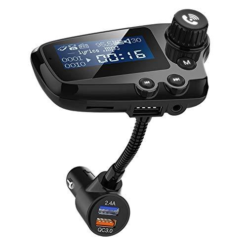 FM Transmitter Auto Bluetooth, Wodgreat FM Transmitter Auto Bluetooth 5.0 Radio Adapter Dual USB Schnellladung QC3.0 Ladegerät MP3 Player freisprecheinrichtung mit 3,5mm AUX-Eingang 1,74-Zoll-Display