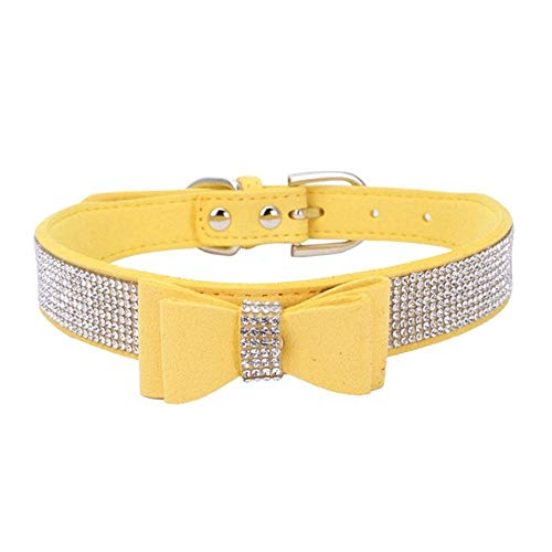 PENVEAT Transer Pet Dog Supplies Adjustable Leather Jewelry Bow Tie Dog Collar Necklace with Rhinestone Crystal Bowknot 80124,Yellow,S 36x1.5CM,United States (Batman Big Brother)