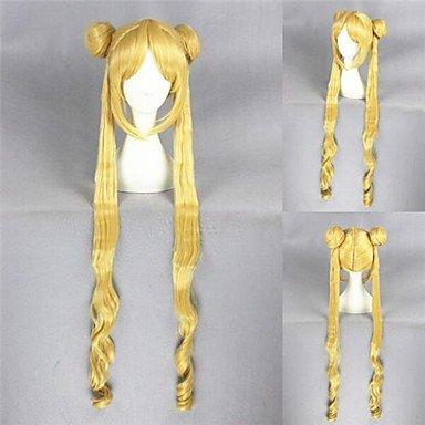 ahom peluca Noble 100cm de largo peluca Sailor Moon Blonde Anime de Cosplay de pelo sintético