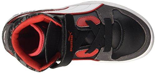 Puma Puma Rebound Street Wcamo Jr, Baskets Hautes Mixte Enfant Steel Gray/Black/Bianco/High Risk Red
