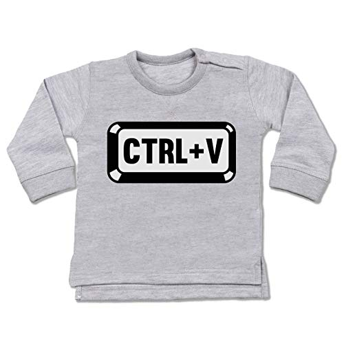 Shirtracer Partner-Look Familie Baby - Papa/Mama - Baby Copy - CTRL+V - 18-24 Monate - Grau meliert - BZ31 - Baby Pullover Coby 19