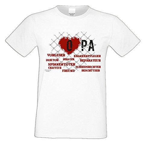 Herren T-Shirt Vatertagsgeschenk Geburtstagsgeschenk :-: Geschenkidee Männer Papa Opa :-: Bester Opa der Welt auch in Übergrößen weiß-07