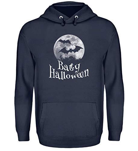 Shirtee Batty Happy Halloween - Gruselige Fledermäuse vor Stylischem Vollmond an Samhain - Unisex Kapuzenpullover Hoodie