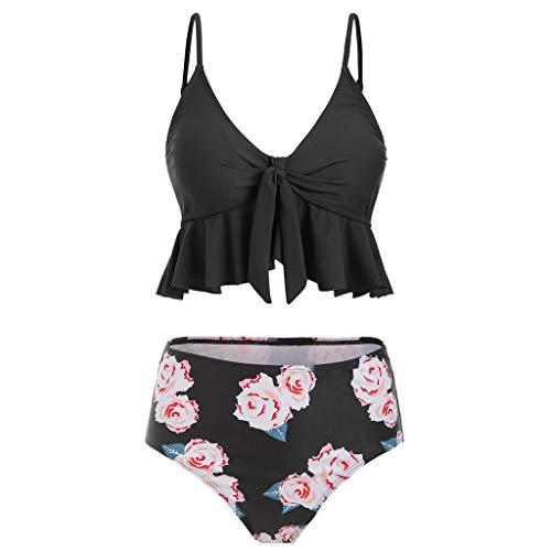 Push Up Bikini Set Damen Strap Badeanzug Crop Top Flounce Tankini Badeanzug mit Rüschen Hals Flounce Bikinis Hohe Knick Oberteil und Bademode mit Hoher Taille Bikinihose Schwarz TWBB -