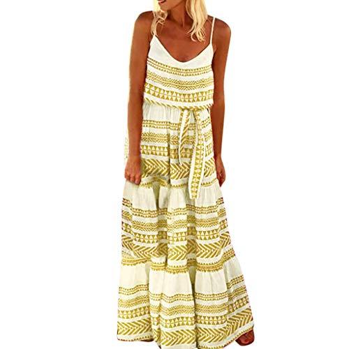 routinfly Sommerkleid Damen Cocktailkleid Abendkleid,Schlingenkleid Loses Kleid mit gestreifter Bandbreite Plus Size Striped Strap Strandkleid Loose Sexy Maxi Dress S-5XL -