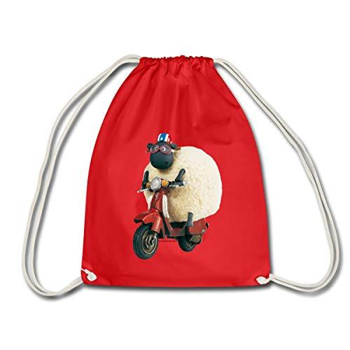 Spreadshirt Shaun Das Schaf Shirley Auf Roller Turnbeutel, Rot (Gym Bag Roller)