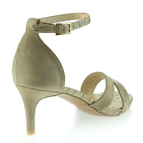 Femmes Dames Ouvertes Orteil Mince Milieu Talon Soir Quotidien Casual Sandales Chaussures Taille Beige
