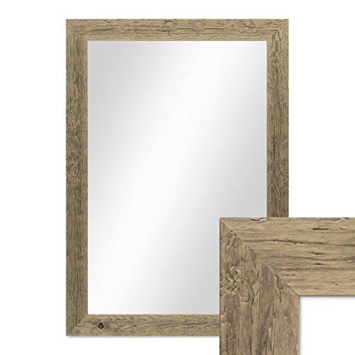 Rahmen Massivholz (PHOTOLINI Wand-Spiegel 60x80 cm im Massivholz-Rahmen Strandhaus-Stil Breit Eiche-Optik Rustikal/Spiegelfläche 50x70 cm)