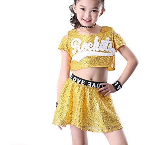 SMACO Kinderwettbewerb Cheerleader Uniforms Performance Kostüm Mädchen,Yellow,130CM (Maskottchen Kostüm Mädchen)
