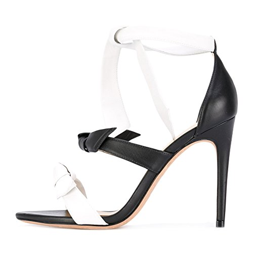 Damen Sommer Open Toe Sandalen High-Heels Stiletto Knöchelriemchen Dress Sandals Schwarz und Weiß