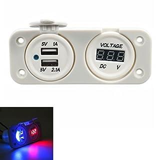 YONGYAO Wasserdichte Dual USB Socket Charger Voltage Gauge White Für Motorrad-Bootswagen Telefon