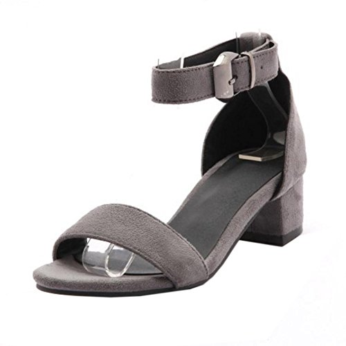 COOLCEPT Femmes Mode Chunky Heel Strappy Sandales Fille Ecole Orteil ouvert Chaussures Gris