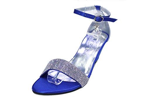 B W & Damen, Hochzeit, PARTY, Brautjungfer Abendkleid FASHION-Sandalen, silber, Gold, Royal Blau) GLAM Königsblau