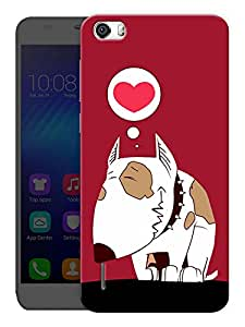 "Humor Gang Dog In Red Heart Printed Designer Mobile Back Cover For ""Huawei Honor 6"" (3D, Matte Finish, Premium Quality, Protective Snap On Slim Hard Phone Case, Multi Color)"