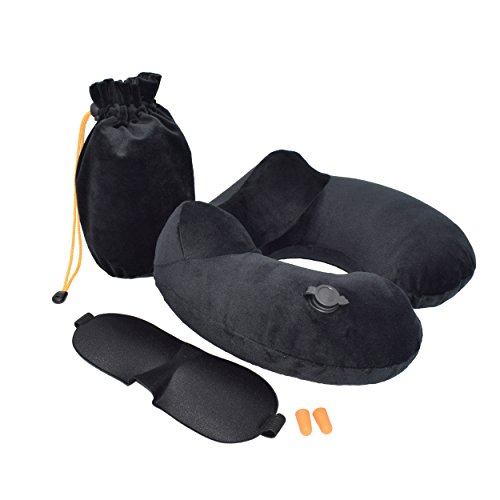 Cuscino gonfiabile da viaggio di nomalite | cuscino cervicale traspirante e compatto con pompa aria. 3 in 1 con mascherina e tappi per orecchie. supporto da collo per aereo, auto, mare e campeggio.