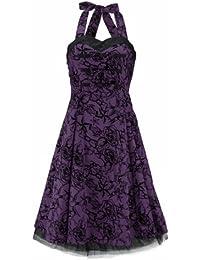 H&R London Robe TATTOO 50'S DRESS violet-noir