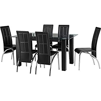 Black Glass Rectangle Seater Dining Table Set With Faux