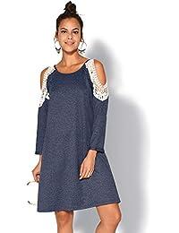 VENCA Vestido Felpa con guipur y Aberturas en Hombros Mujer by Vencastyle - 023551