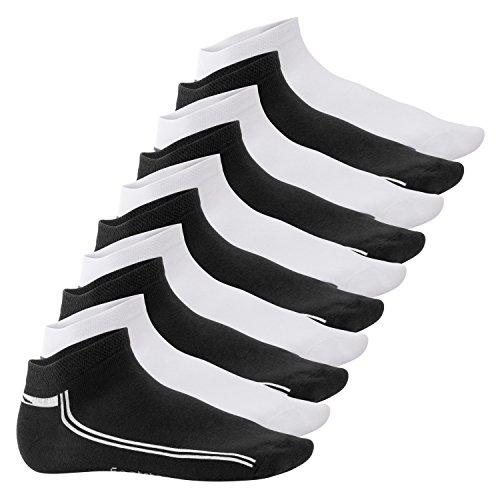 Footstar 10 Paar SNEAK IT! Sneaker - Schwarz-Weiss mit Streifen 39/42 (Gestreifte Rote Und Weiße Socken)