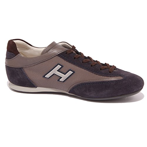 4466Q sneaker uomo HOGAN OLYMPIA SLASH H FLOCK blu/marrone shoe men Blu/Marrone