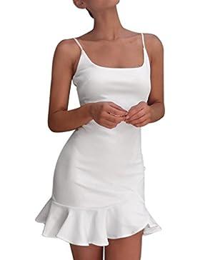 Vestido sin mangas con volantes sin mangas de Lady Sexy Off Shoulder Mujer Vestido de Punto Básico Mujer Vestido...
