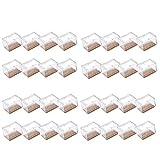 Mogoko 32 x Stuhlbeinkappen Silikon Stuhlbein Fußboden Schutz Möbel Tischabdeckung Furniture Tisch Hocker Bein Covers Pads Protectors für 39-47mm Lang 24-30mm BreitRechteckig Beine (Transparent)