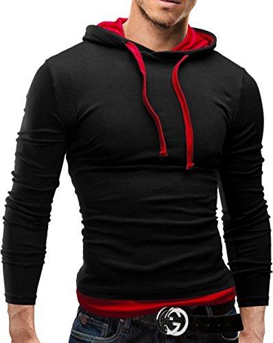 MERISH Sweatshirt Slim Fit Herren Langarm Hoodie Kapuzenpullover 06 Schwarz / Rot