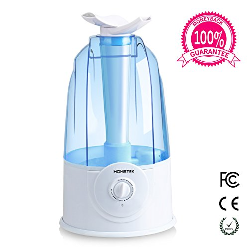 Home-Tek Ultrasonic Humidifier, HOMETEK 3L High Volumn Whisper-quiet Humidifier with Two 360 Degree Rotatable Outlets and Waterless Auto Shut-off Function
