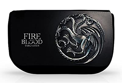 "Trousse Game of Throne de la maison Targaryen et sa devise ""Fire and blood"" pour l'école ou comme trousse de toilette et maquillage - Kanto Factory -"