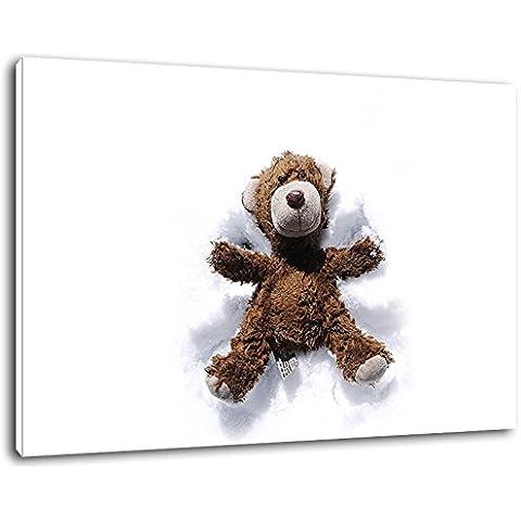 Teddy Bear nella neve Formato: 100x70 cm pittura su tela-coperte, enormi Foto XXL completamente finito e incorniciate con barella, incorniciatura sul murale con telaio, più conveniente che la pittura o l'immagine, senza manifesti o