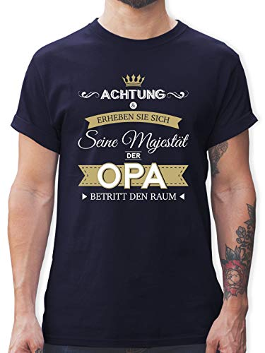 Opa T-shirt (Opa - Seine Majestät der Opa - XL - Navy Blau - L190 - Herren T-Shirt und Männer Tshirt)