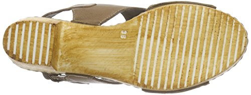 Manitu - 910664, Scarpe col tacco con cinturino a T Donna Beige (Beige (Beige))