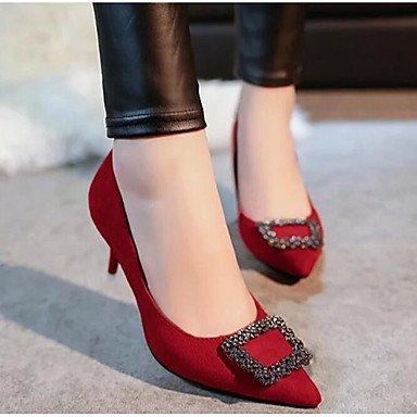 SHOESHAOGE Chaussures Pour Femmes Pu Printemps Automne Comfort Heels For Casual Gris Noir Rouge Vert Red